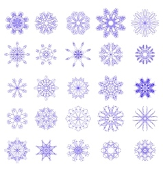 Set of different blue snowflakes vector