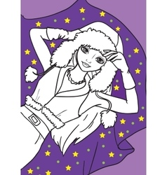 Coloring book of beautiful girl lying on blanket vector