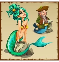 Beautiful mermaid and a leprechaun with a tail vector