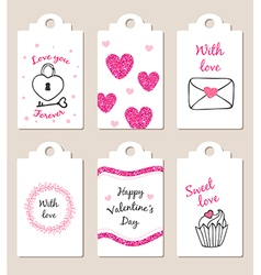 Decorative badges for Valentines day vector image
