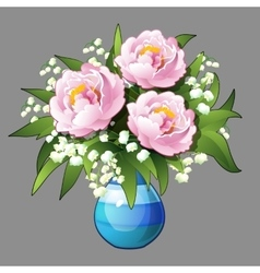 Elegant bouquet of pink peonies closeup vector