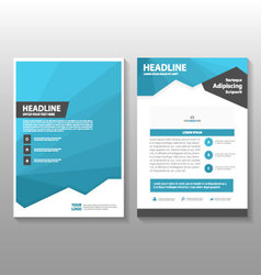 Blue polygon annual report leaflet brochure flyer vector