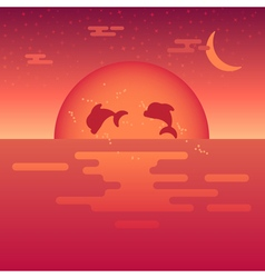 Sea sunset vector