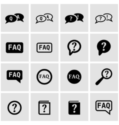 Black faq icon set vector
