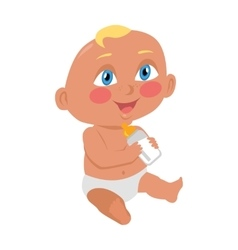 Baby sitting on the floor with a bottle vector