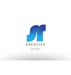 Blue gradient sr s r alphabet letter logo vector