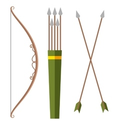 Bow and arrow icon in cartoon style isolated on vector