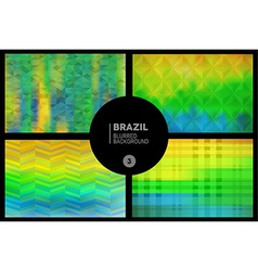 Brazil geometric blurred backgrounds set vector