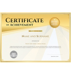 Certificate of achievement template gold vector