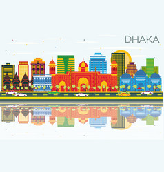 Dhaka skyline with color buildings blue sky and vector