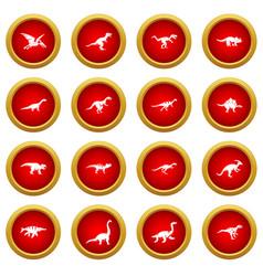 Dinosaur icon red circle set vector