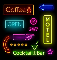 Glowing neon lights for cafe and motel signs vector