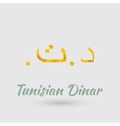 Golden symbol of tunisian dinar vector