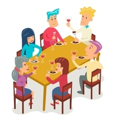 Group friends eat meal characters celebration vector