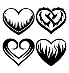 Heart tattoos set vector