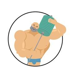 I love fitness athlete hugs barbell Bodybuilder vector image