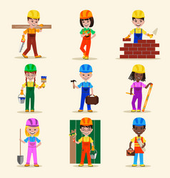 Kids builders characters profession vector