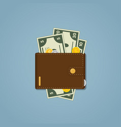 leather brown wallet vector image vector image