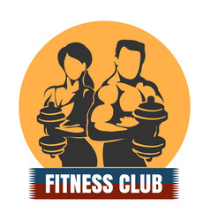 man and woman fitness club logo design vector image vector image