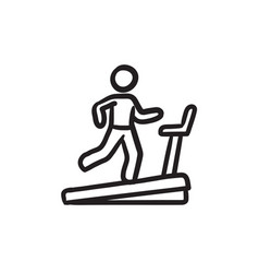 Man running on treadmill sketch icon vector