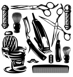 monochrome set of accessories and tools in vector image