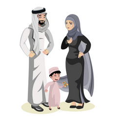 muslim family cartoon character vector image