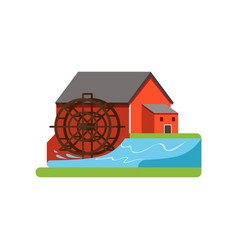 Old water mill farm building countryside life vector