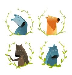 Set of Cartoon Domestic Dogs with Laurel Wreath vector image