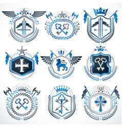 Set of old style heraldry emblems vintage vector