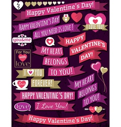 set of ribbon valentines design vector image