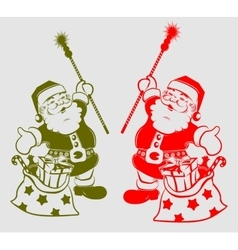 silhouette of Santa Claus with bag vector image