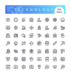 technology line icons set vector image vector image