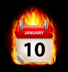 Tenth january in calendar burning icon on black vector