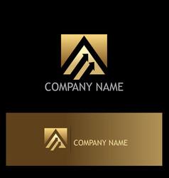 triangle arrow business gold logo vector image