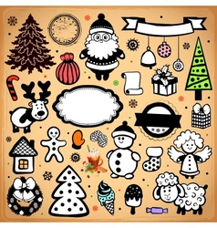 Vintage Christmas set of design elements vector image vector image