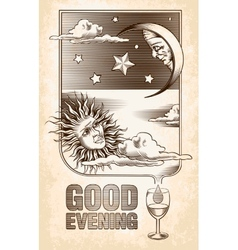 Vintage drawing of the sun moon and stars vector image vector image