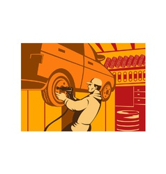Mechanic automotive repairman retro vector