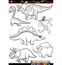 Prehistoric set for coloring book vector