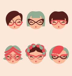 fashion girls in glasses icon set eps 10 vector image