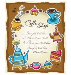 cute coffee frame 3  vector image