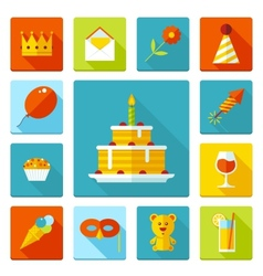Set of flat birthday party icons holiday wedding vector