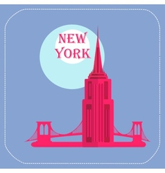New york empire state building icon flat vector