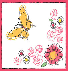 Drawing of butterfly and flowers vector