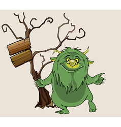 Cartoon green shaggy beast stands smiling vector