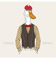 Fashion of goose dressed up in retro style vector