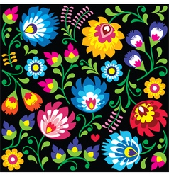 Floral polish folk art pattern on black vector