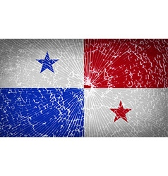 Flags panama with broken glass texture vector