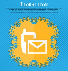 Mail icon envelope symbol message sms sign floral vector