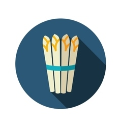 Asparagus flat icon with long shadow vector