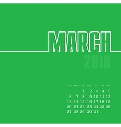 March 2016 year calendar vector